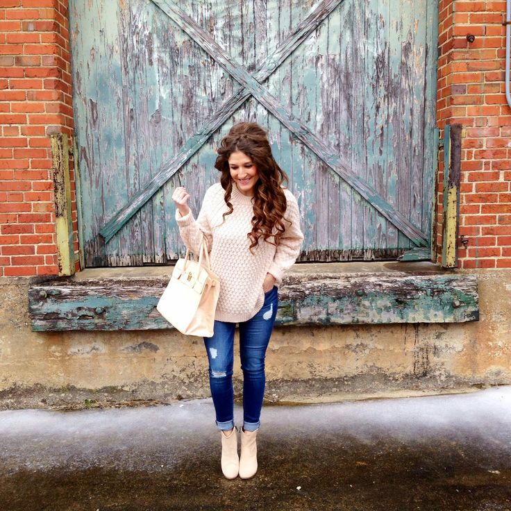 The Style Storm: H&M knit sweater, East & Lo distressed skinny jeans, Vince Camuto nude booties, Aldo tote bag, Bellami hair extensions in chocolate brown