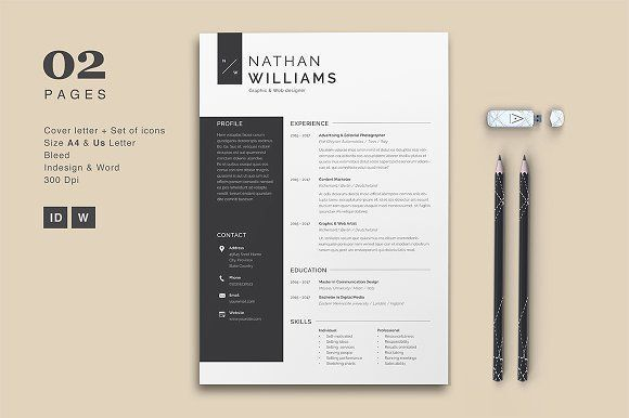 Resume Cv Nathan by Astut on @creativemarket Professional printable resume / cv cover letter template examples creative design and great covers, perfect in modern and stylish corporate business design. Modern, simple, clean, minimal and feminine style. Ready to print us letter and a4 layout inspiration to grab some ideas. In psd, indd, docs, ms word file format. #resume #cv #template #professional #word #modern #creative #design