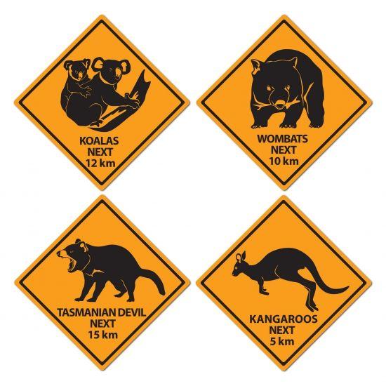 Australie decoratie borden 4 stuks