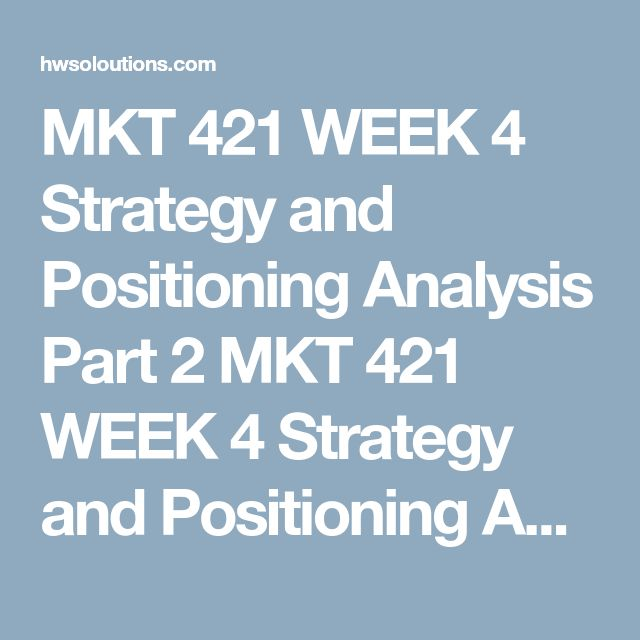 Week  Elements Of A Marketing Plan Paper Mkt  Review The Video