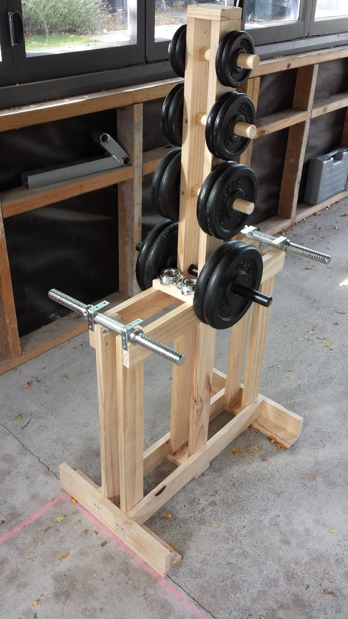 Wooden dumbbell rack wood tree stand home gym