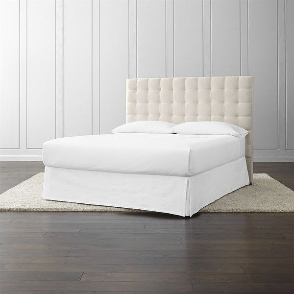 Crate & Barrel Quadrant Upholstered California King Headboard ($1,099) ❤ liked on Polyvore featuring home, furniture, beds, cal king headboard, crate and barrel beds, fabric headboard, california king headboard and ca king headboard