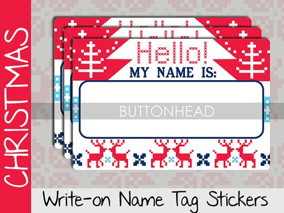 Ugly Christmas Sweater Party Decorations Decor – Adult Christmas Party Games – Name Tags Stickers (Set of 10)