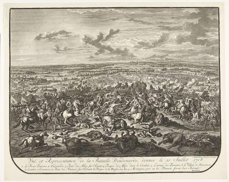 Jan van Huchtenburg   Slag bij Oudenaarde, 1708, Jan van Huchtenburg, 1727 - 1729   De slag bij Oudenaarde tussen de Geallieerden onder de prins van Savoye en de hertog van Marlborough en de Fransen, 11 juli 1708. Links de prins te paard. Genummerd rechtsonder: Tom. I. No. 26.