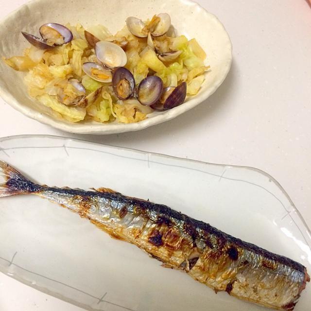 塩焼きが1番! - 2件のもぐもぐ - キャベツとあさりの酒蒸し、根室産サンマ by Yukiko Nohara
