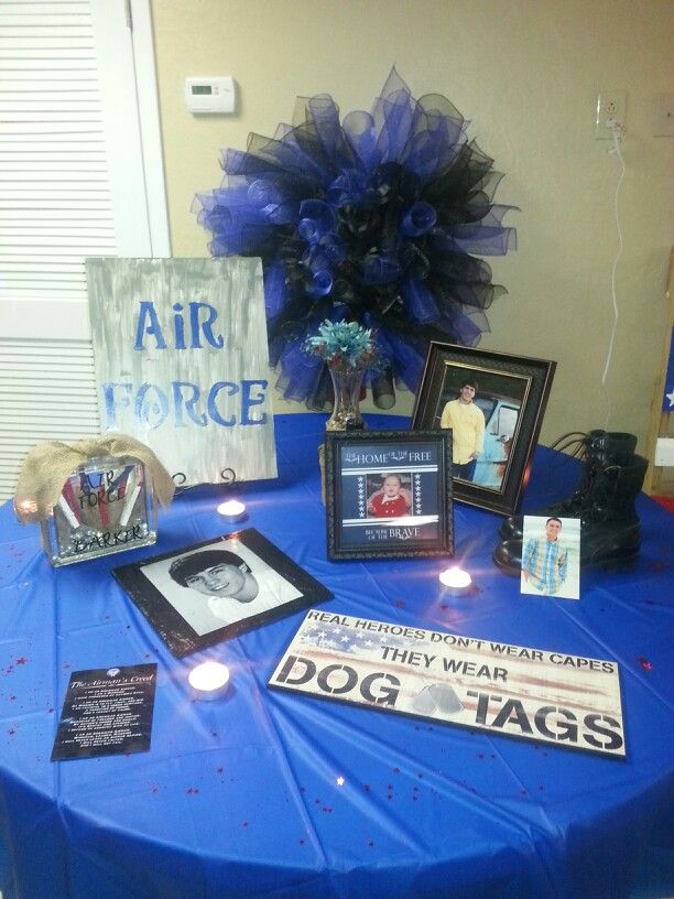 Air force going away party decor