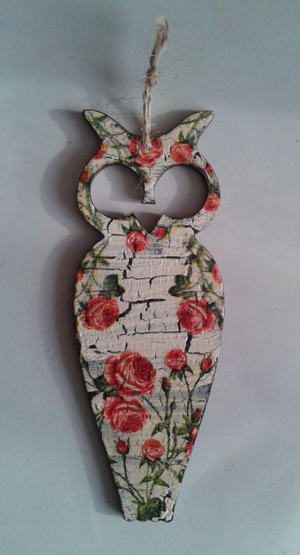 hand made, overlap, zakładka,owl, rose, sowa