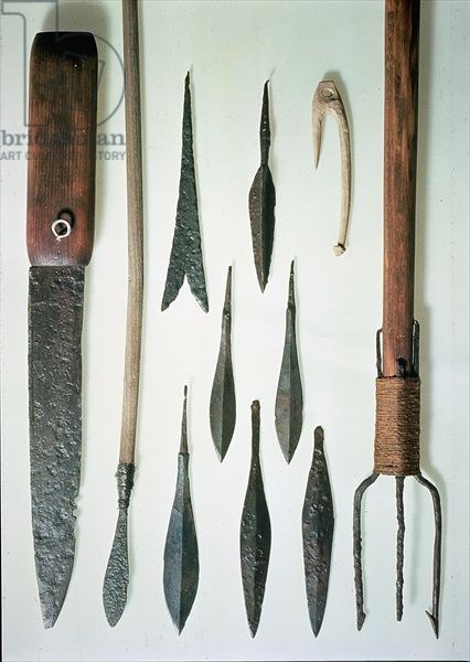 An assortment of tools and spearheads (wood and metal), Scandinavian, Viking, (6th century) / Viking Ship Museum, Oslo, Norway / Giraudon Bridgeman Images number KND176627