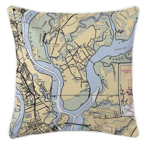 Navigate your way home with this fun 20 x 20, Daniel Island Nautical Chart Pillow.