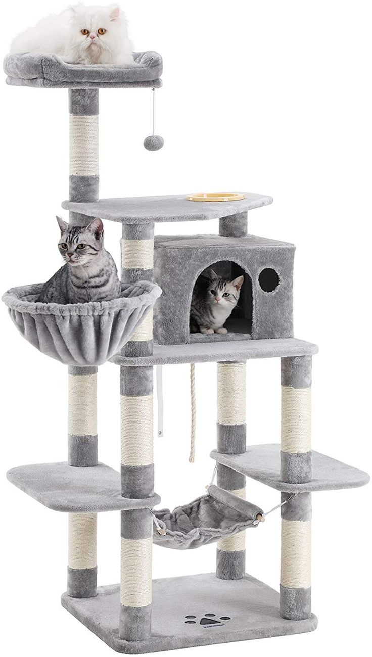 FEANDREA 68.5 inches Sturdy Cat Tree with Feeding Bowl