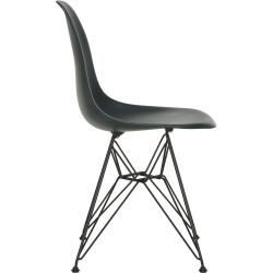 Designer Furniture Eames Plastic Side Chair Dsr With Plastic Glides Basic Dark Black New Dimensions Vitravitra In 2020 Side Chairs Farmhouse Chairs Furniture Design