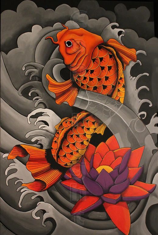 Japanese Koi Sanke Feng Shui Earth Painting by Gordon Lavender |Japanese Koi Painting