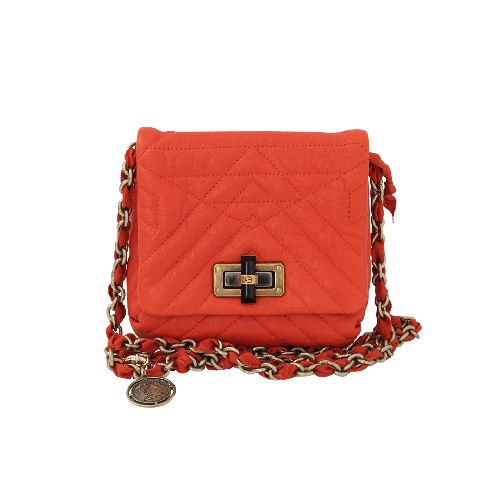 "Mini Pop Happy Bag From Lanvin 6"" x 6.5"" x 2"", 46"" Chain And Grosgrain Shoulder Strap Bamboo Toggle Turn Clasp With Fold-Over Top One Compartment And One Inside Pocket, Top-Stitching Detail Made In Italy Available In Orange"