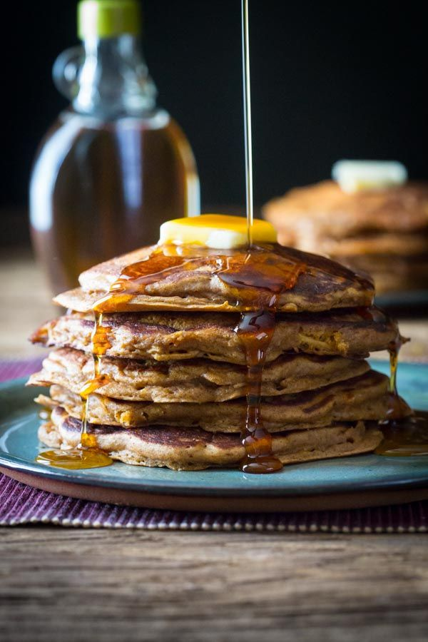 whole-grain healthy Gingerbread Apple Pancakes