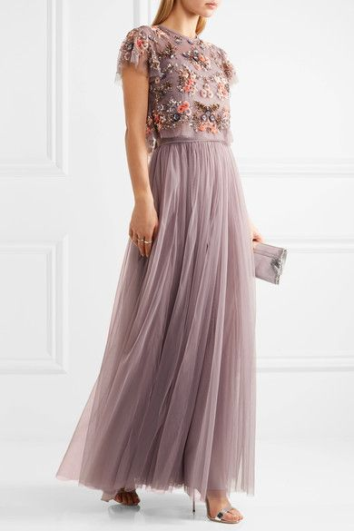 Lavender tulle Concealed zip fastening along back 100% nylon; lining: 100% polyester Dry clean Imported