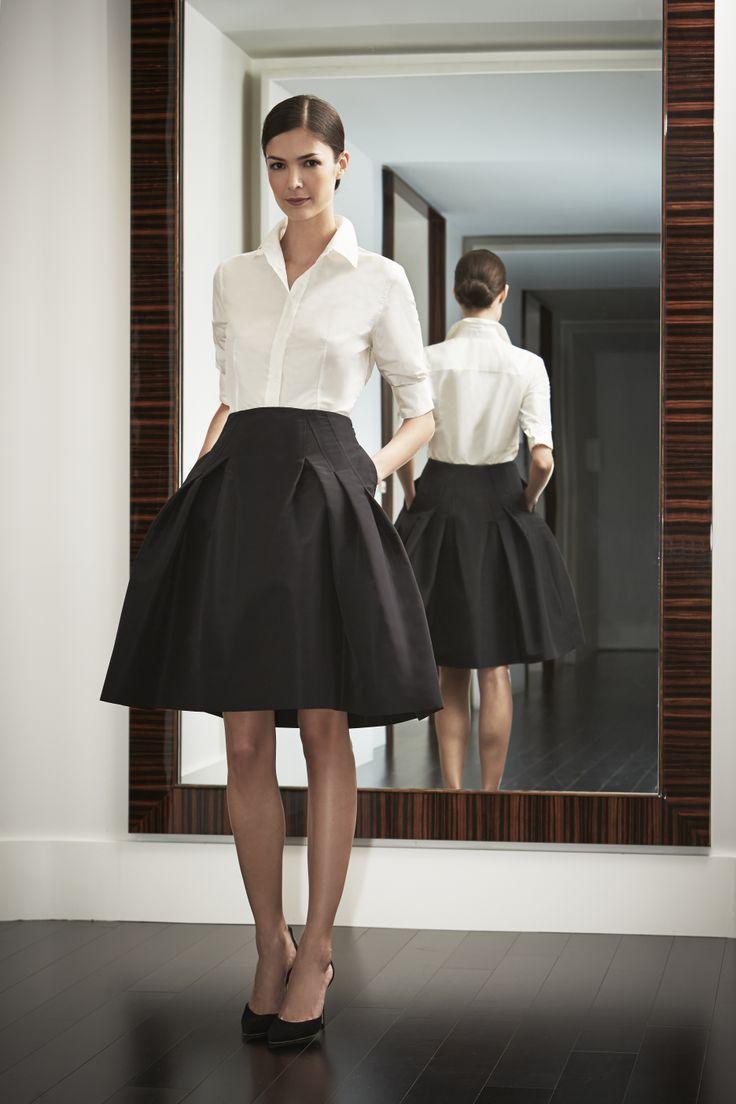 caroline-herrera-white-shirt-a-line-skirt