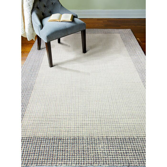 Rommel Hand Tufted Wool Ivory Silver Area Rug Silver Area Rug