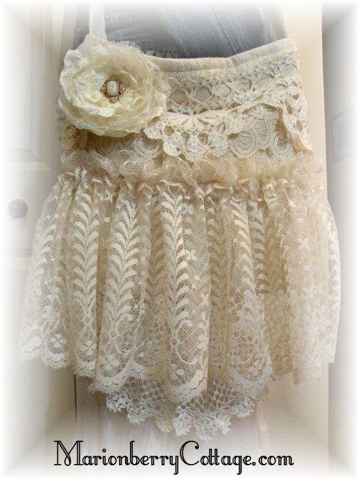 Vintage Gypsy BOHO COLLAGE slouchy handbag Ivory lace and crochet