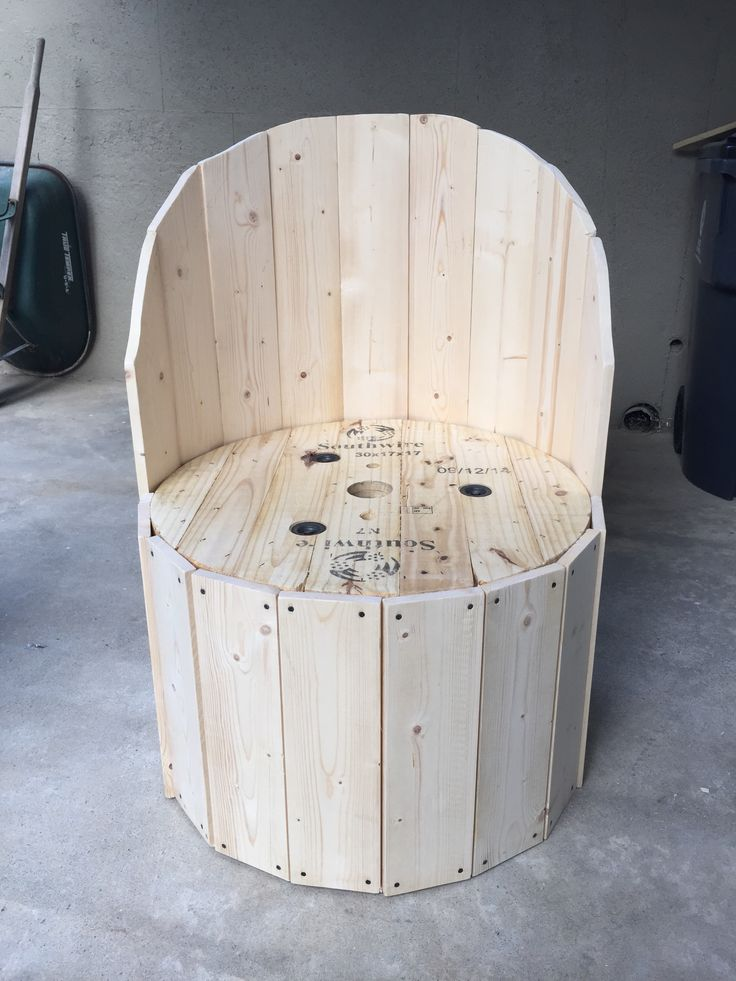 Wire spool made into a chair 1x6 boards. Finished all the way around