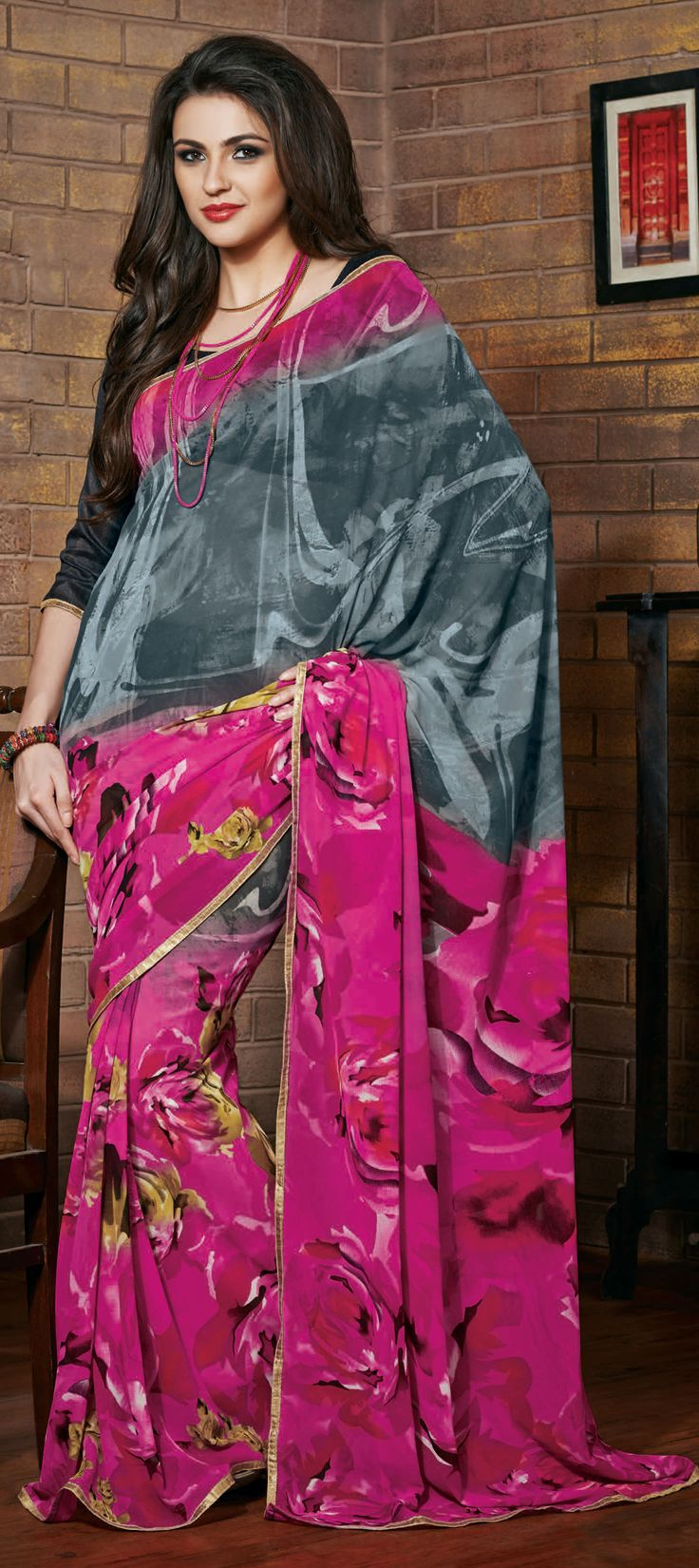 154490: Dual Tone #saree in floral prints -  This style is hit for parties and cocktails. Shop now!  #RepublicDay #Sale #Partywear #prints #Trends2015