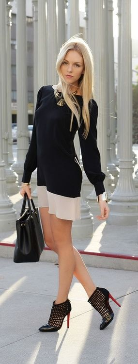 #street #fashion black long-sleeve dress @wachabuy