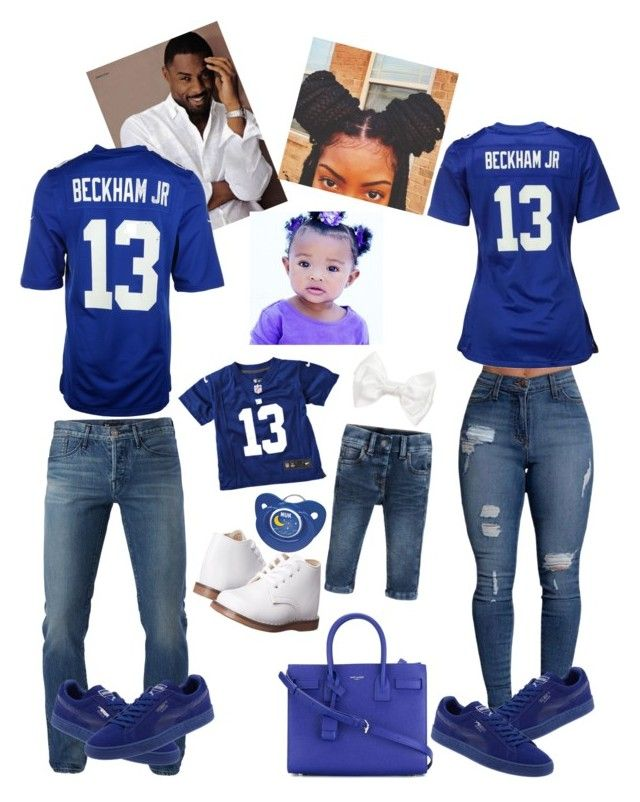 """""""NY Giants Family Outfit 😍💙💚"""" by jaylinehilson on Polyvore featuring 3x1, NIKE, Puma and Yves Saint Laurent"""