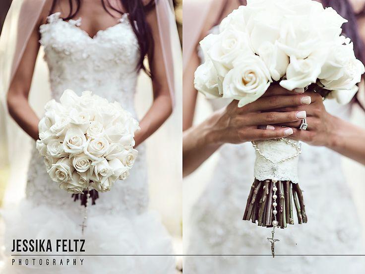 Indianapolis Museum of Art Wedding   Jessika Feltz Photography, white wedding flowers, white bridal bouquet, flowers with rosary, bride's flowers