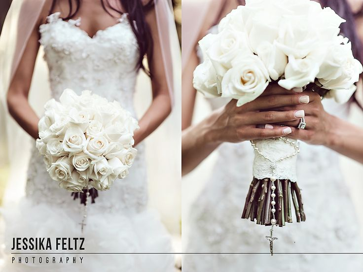 Indianapolis Museum of Art Wedding | Jessika Feltz Photography, white wedding flowers, white bridal bouquet, flowers with rosary, bride's flowers