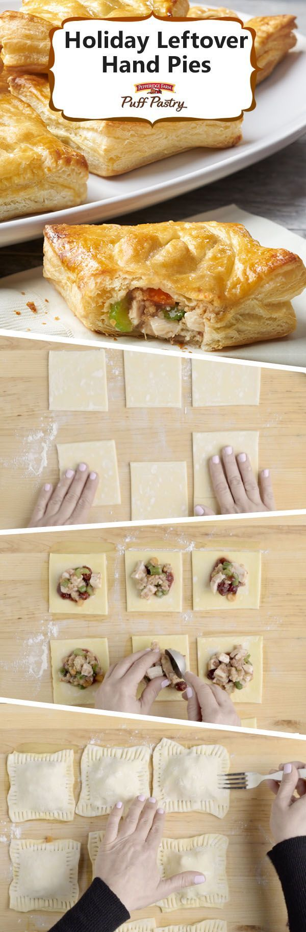 Pepperidge Farm Puff Pastry Holiday Leftover Hand Pies Recipe. Transform your Thanksgiving leftovers into something new and delicious! With these hand pies, all of the goodness from holiday leftovers is wrapped up in flaky Puff Pastry and baked to perfection. Cranberry sauce combined with gravy adds a savory sweetness to your turkey, stuffing and veggies. It's like having a holiday dinner in every bite.