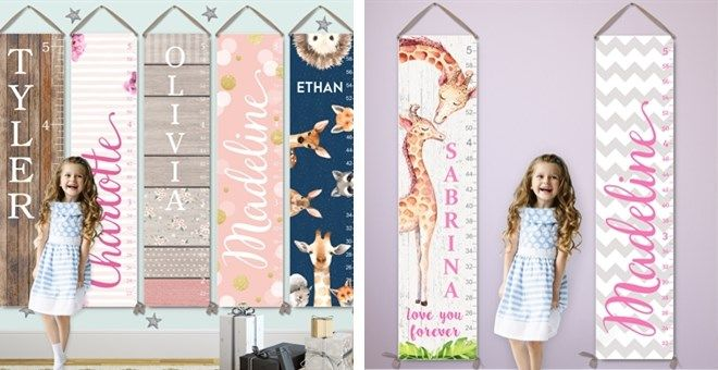 Kids Growth Charts | Personalized on Canvas | 40 Designs | Jane