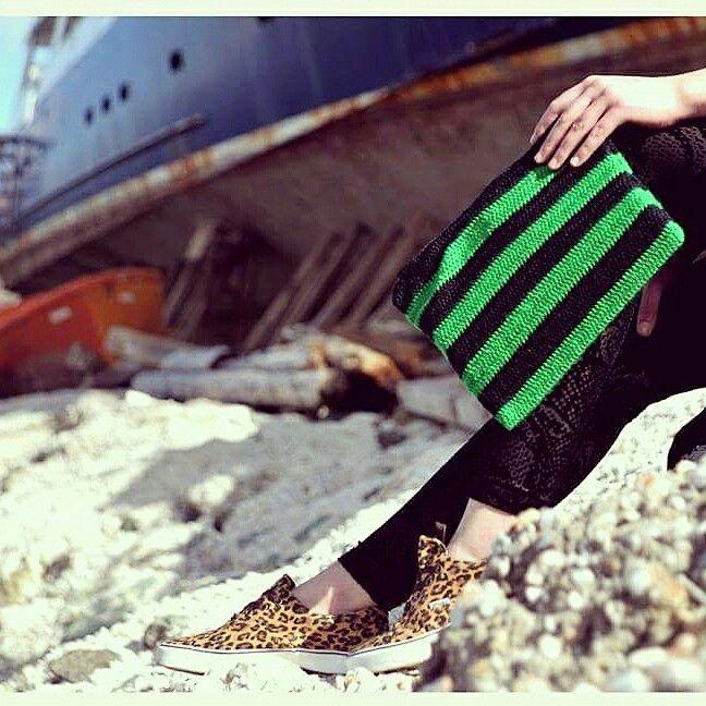 Knitted Clutch Bag - Green Horizon