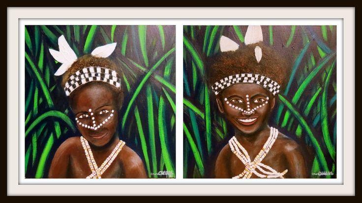 Bougainville Children  Last painting for 2014