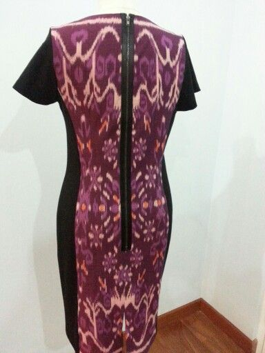 Tenun Jepara dress - back side with exposed zipper details. Made by Dongengan (Facebook: https://m.facebook.com/dongengan)