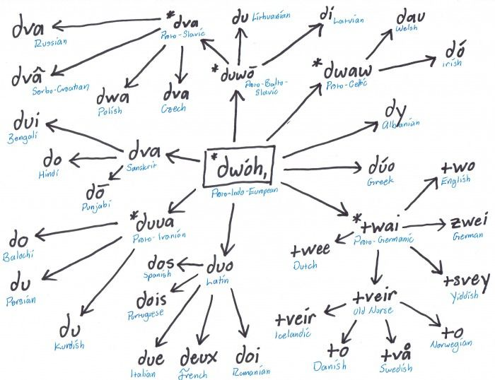 """The evolution of """"two"""" in various Indo-European languages"""