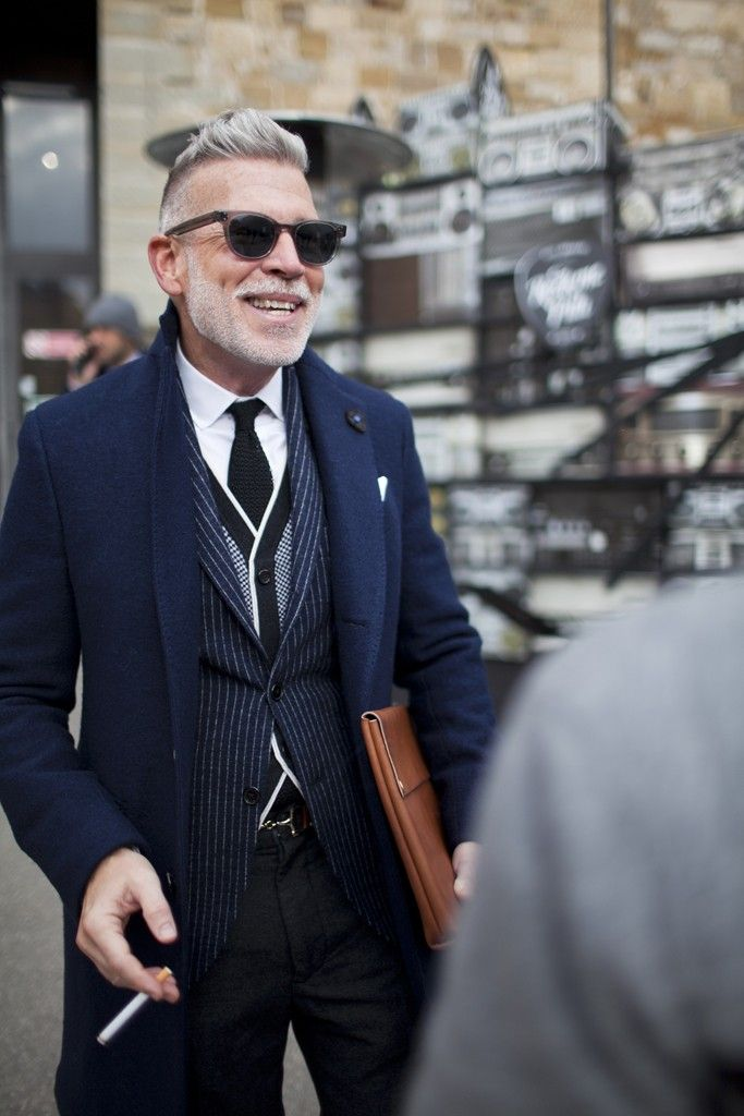Nick Wooster. On the street in Florence during Pitti Uomo. [Photo by Kuba Dabrowski]