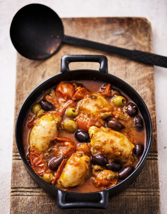 Sara Raven's Chicken Puttannesca by dailymail.co.uk: Low-fat and low-calorie but satisfying. It only needs a salad to make it a meal. 247 calories/serving