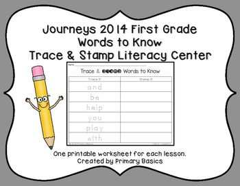 One printable worksheet for each lesson of the Journeys 2014 or Common Core First Grade Curriculum. Just print and put in a weekly center with a set of stamps and the students will love it! Provides a fun, hands-on way to practice your Words to Know each week.Created by Primary BasicsOther Journeys 2014  and Common Core ProductsJourneys  First Grade Words to Know Roll and WriteJourneys First Grade Word SortsJourneys First Grade Spelling Words Rainbow WritingJourneys First Grade Spelling…