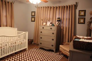 rustic nursery with brown and grey chevrons