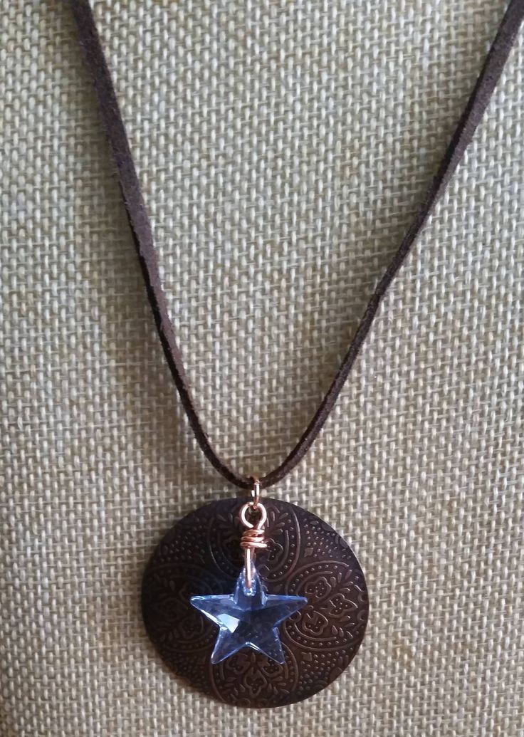 Antique Copper Focal and Blue Crystal Star Necklace