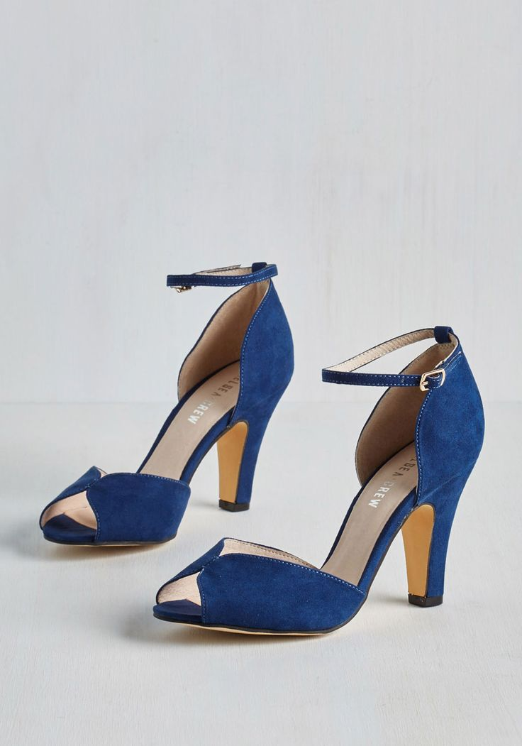 Fine Dining Heel in Sapphire by Chelsea Crew - Mid, Blue, Solid, Special Occasion, Prom, Party