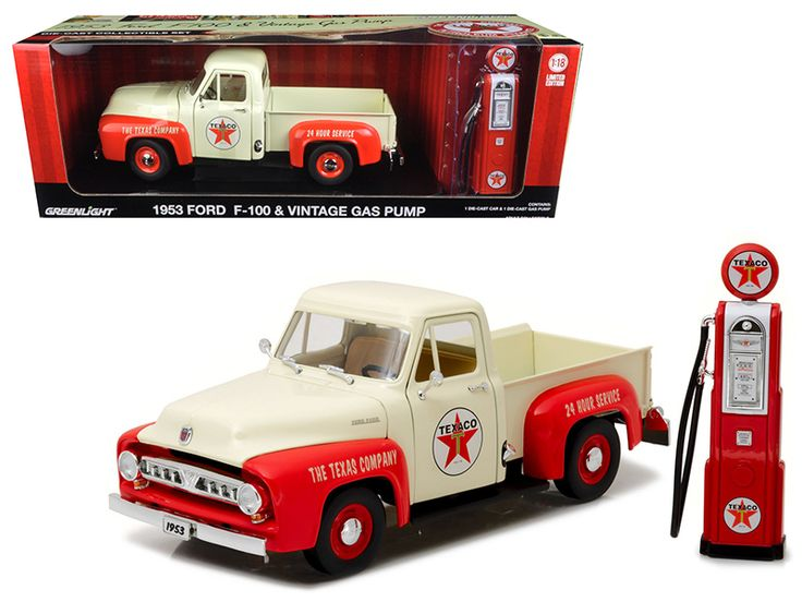 1953 Ford F-100 Pickup Truck Texaco with Vintage Texaco Gas Pump 1/18 Diecast Model Car by Greenlight - Brand new 1:18 scale diecast model of 1953 Ford F-100 Pickup Truck Texaco with Vintage Texaco Gas Pump die cast model car by Greenlight. Has steerable wheels. Brand new box. Rubber tires. Opening tail gate. Has opening hood and doors. Made of diecast with some plastic parts. Detailed interior, exterior, engine compartment. Pump is approximately: 5.25 inches high. Dimensions approximately…