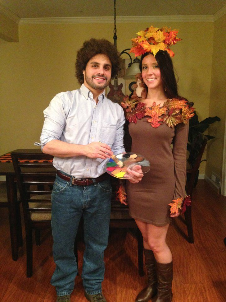 Pin for Later: 57 Easy Costume Ideas For Couples Bob Ross and Happy Little Tree