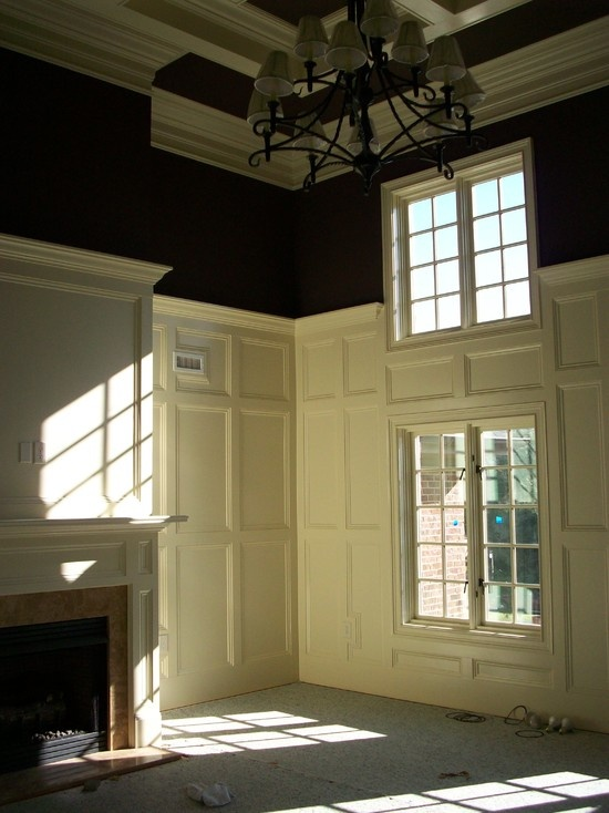 Traditional Family Room Wainscoting paneled walls with upper portion painted black