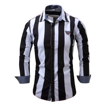 Fredd Marshall Brand Men's Shirt Striped Long Sleeve Plaid Shirts Mens Dress Shirt Brand Casual Denim Style Printing Shirts