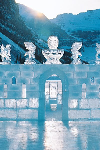 Love the @Fairmont Lake Louise Hotel and Spa is included! Winter spa getaway! Ice castles that are filled with frozen sculptures, slides, and even waterfalls.