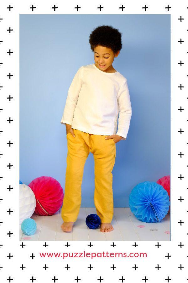 PDF sewing pattern, unisex, girls, boys, harem pants, shirt, pockets, Puzzle Patterns.