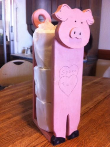 Pig Country Decor Spare Toilet Paper Roll Holder Folk Art Paper Towel Kitschy