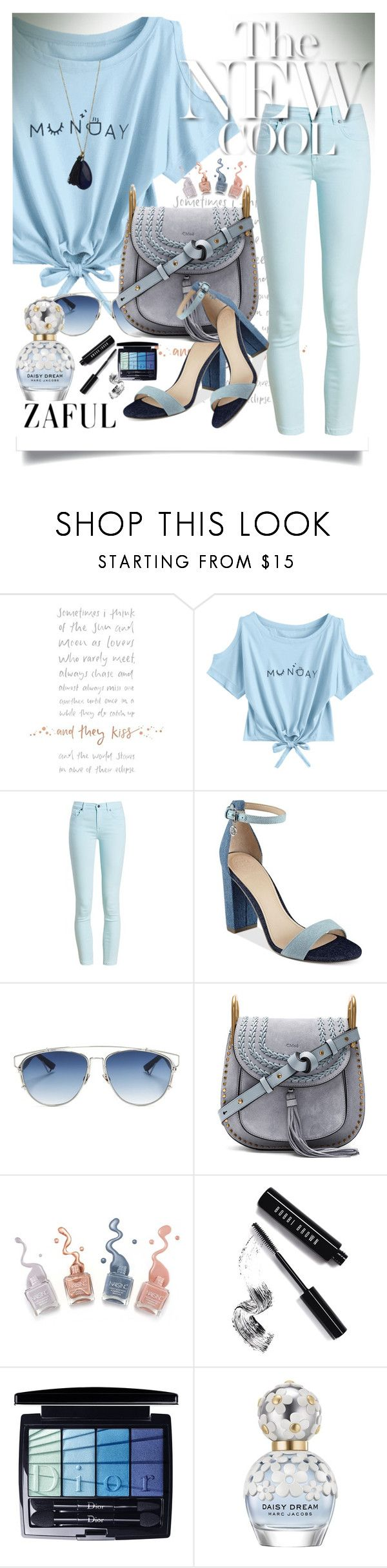 """""""Summer trend, short sleeve t-shirt"""" by manuela-cdl ❤ liked on Polyvore featuring Barbour, GUESS, Christian Dior, Chloé, Bobbi Brown Cosmetics and Marc Jacobs"""