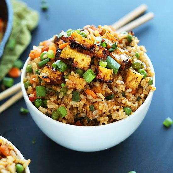 Easy, vegan fried rice loaded with tender vegetables, crispy baked tofu, and tons of flavor! A healthy, satisfying plant-based side or entrée.