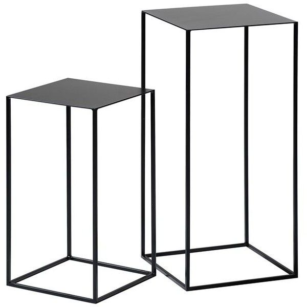 Set of 2 ROMY Lacquered Metal Side Tables ($190) ❤ liked on Polyvore featuring home, furniture, tables, accent tables, lacquer side table, lacquer end tables, lacquer table, metal side table and modern classic furniture